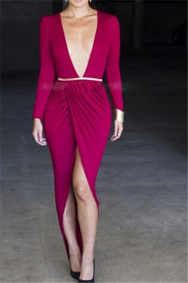 Deep V neck long sleeve sexy dress with belt rosy (The Belt Not Included)