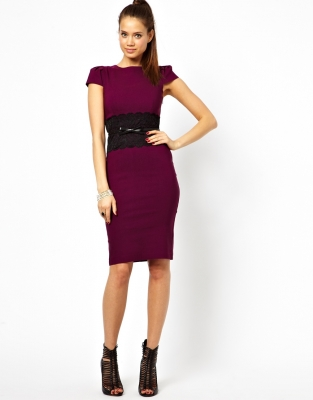 Ladies Midi Dress with Lace Peplum