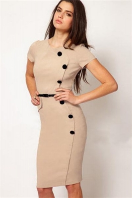 Khaki Fashion Slimming Midi Dress with Buttons