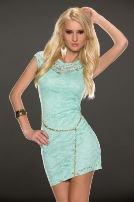 Sleeveless lace sexy mini dress in light blue