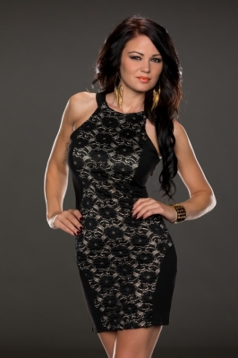 Charismatic Lace over Panelling Vintage Dress Black