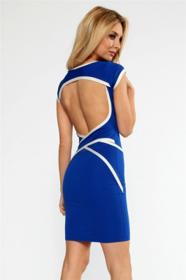 Sexy O Neck Cut Out Back with Mesh and White Stripes Mini Dress Dark Blue