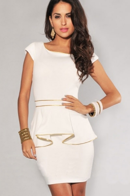 Ivory Gold Trim Peplum Dress White