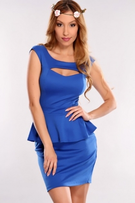 Blue Cutout Peplum Dress