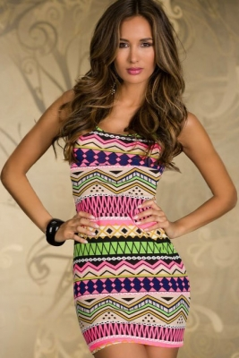 Fancy Form-fitting Stretch Mini Dress with Ethnic-print Green Pink