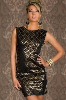 Black Shining Square Hot Stamping Bodycon Party Dress