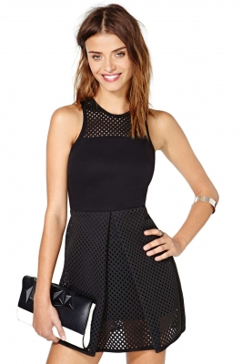 Stylish Black Breathable Hollow out Back Skater Dress
