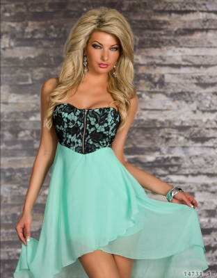 Modern With Zipper Front  High Low Dress Green