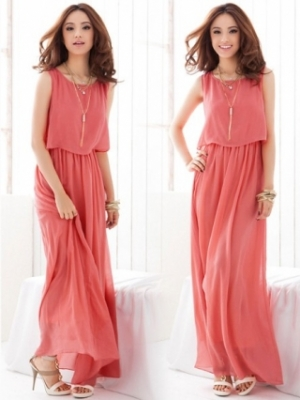 New Arrival Bohemian Beach Dress Chiffon Long Dress Watermelon Red