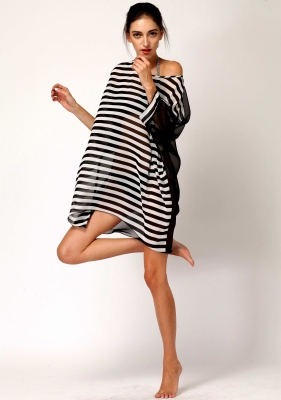 Black and white baggy beach cover up