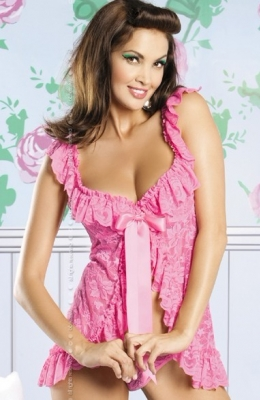 Pink Beauty Floral Lace Babydoll