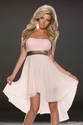 Sexy Chiffon Long dress with Lace Top Pink