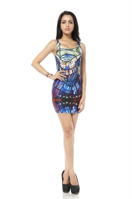 Bird printed mini club dress