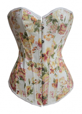 Yellow flower printed corset