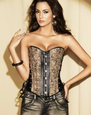Elegant Multi-Fabric Corset Brown