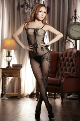 Fishnet Crotchless Bodystocking with Lace Trim