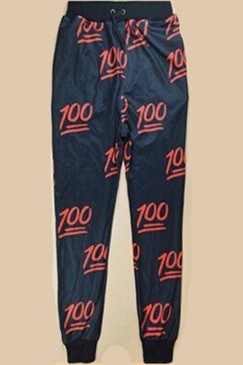 Digital Printing Causual Sports Pencil Pants Black