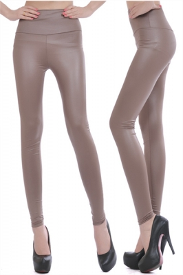 Fashion of tall waist imitation leather leggings  mercerizing knaki