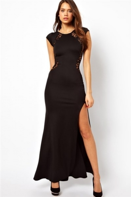 Black Sexy Party Long Lace Sheer Back Vestidos Maxi Dress