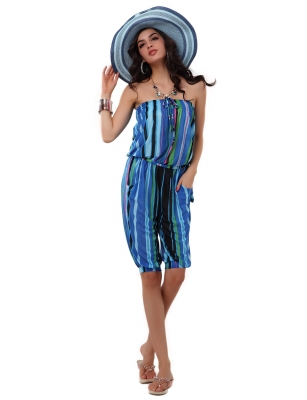 Fashion rompers with blue streak