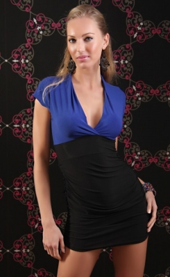 Blue and Black V-Neck Party Dress