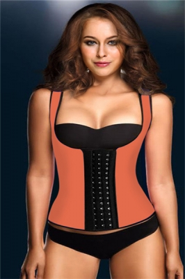 Wide Shoulder Straps Calorie Loss Rubber Corset Orange