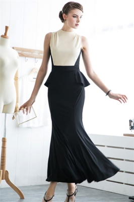 Royal Debutantes' Retro One-Piece Long Peplum Evening Dress Nude Black