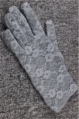 Lace Floral Crocheted Sun Protective Short Knitted Gloves Grey