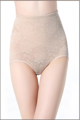 High Waisted Paisley Slimming & Firming Girdle Apricot