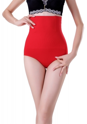 High Waist Solid Seamless Shapewear Red