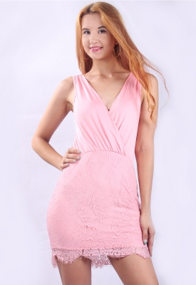 New Arrival Sexy V-neck Lace Bodycon Mini Dress Pink