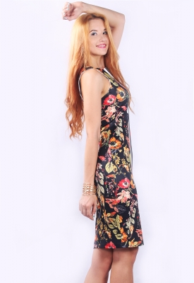 One Piece Women Elegant  Retro Floral Mini Dress