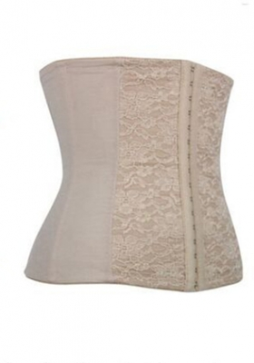 Stylish 9 Steel Bones Jacquard Waist Training Corset  Apricot