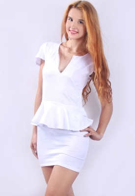 U-neck OL Peplum Dress White