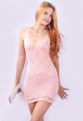 Fashion Club Sequin Mesh Floral Lace Open Back Sexy Strap Mini Dress Pink