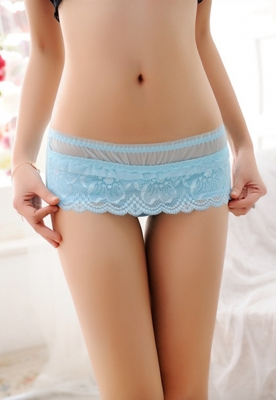 Sexy Women  Boyshorts Lace Floral Panties Light Blue
