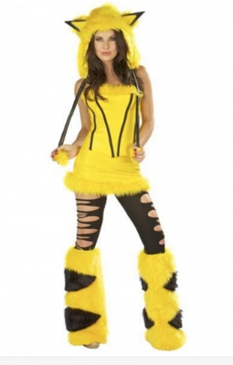 Women Cosplay Yellow Furry Elephant Halloween Costume