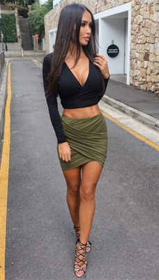 Hot Seductive Women Irregular Wrinkle Mini Dress Army Green