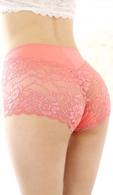 Wholesale Sexy Women Floral Sheer Lace Undershorts Watermelon Red