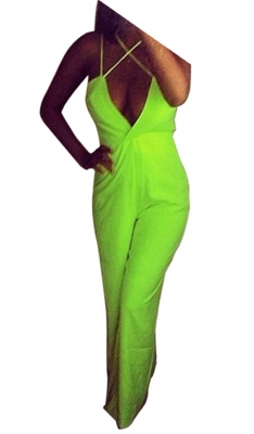 Fashion Elegant Straight Pants Deep V--Neck Two Straps Crossover Backless Jumpsuits Fluorescence Green