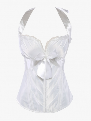 Hot Sale Sweetheart Halter Bowknot Bridal Corset White