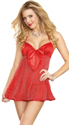 Hot Sale Ladies Sexy Red Halter Backless Bowknot Babydoll