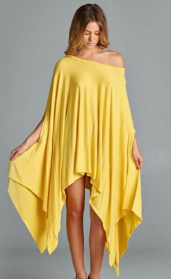Fashion Women Cloak Batwing Sleeves Irregular Bodycon Dress Yellow