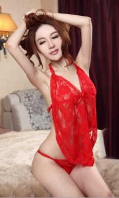 Wholesale Women Sexy Red Lace Babydoll