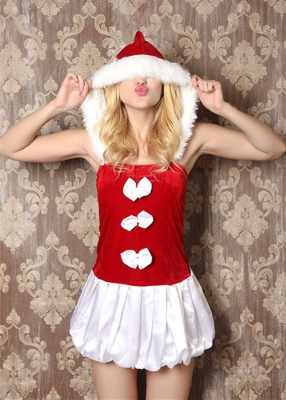 White & Red Christmas Cosplay Bowknot Costume
