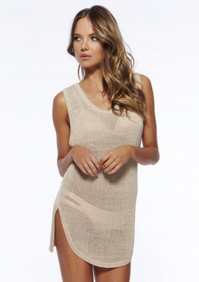 Seductive Irregular hem Hollow Out Sleeveless Vest Beach Dress Apricot