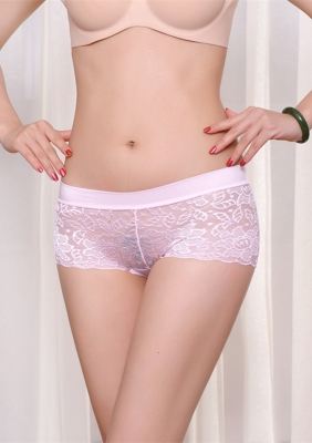Sexy Hollow Out Seamless Lace Underwear Pink