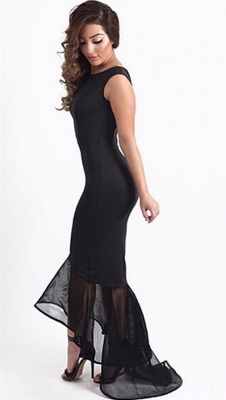 Black Tulle Sleeveless Irregular Hem Fishtail Party Evening Dress
