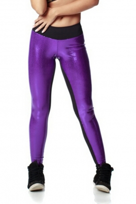 Fashion Jogger Color-Block Sporty Trousers Black & Purple