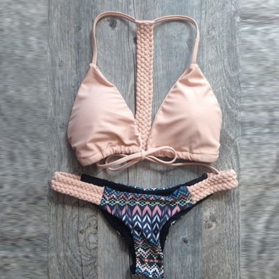 Sexy Women Knit Retro Bikini Swimsuit Pink